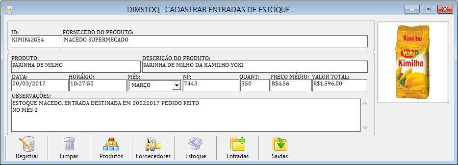 Programa para cadastro de produtos e controle de estoque
