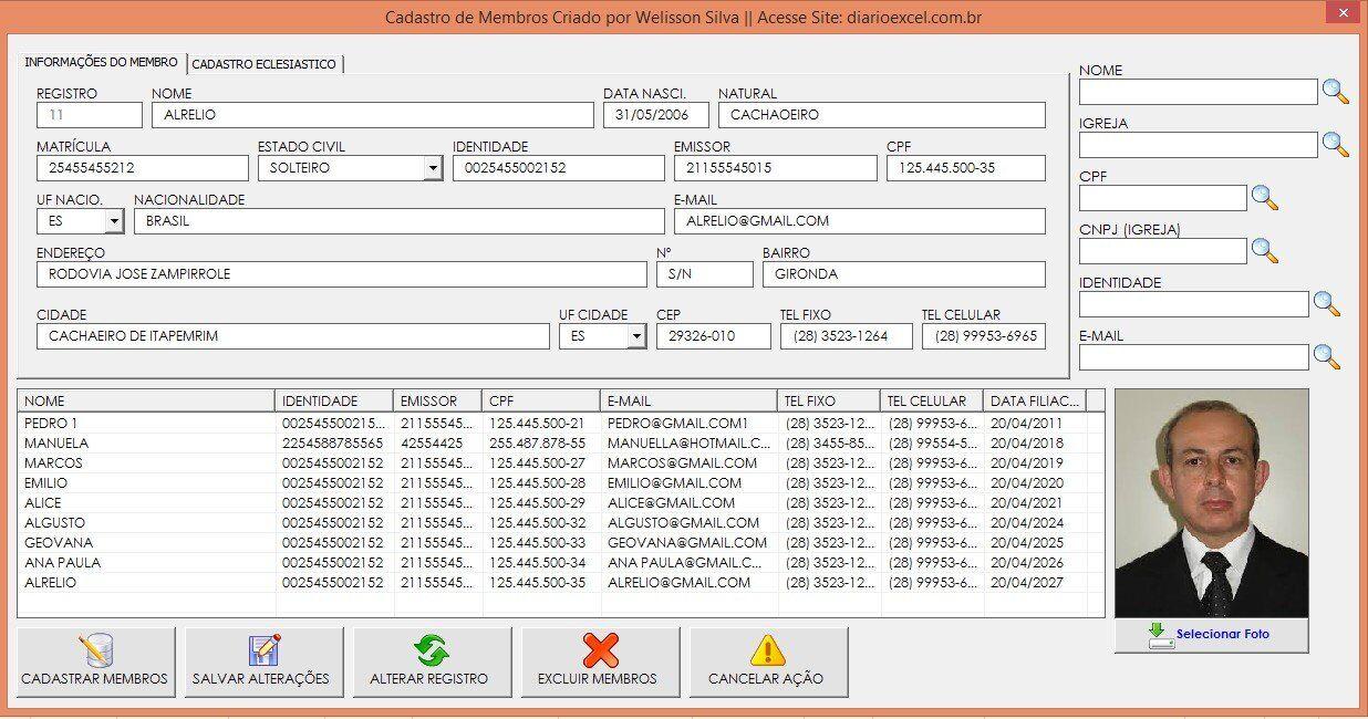 Cadastro de membros para igreja - Planilha Para Cadastro de Membros com Foto software Para igreja download Grátis cadastro de membros baixe gratis