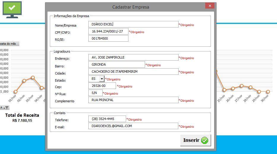 Controle de vencimento - formulário para cadastrar sua empresa