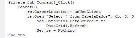 Preencher DataGrid código para preenchimento de um datagrid