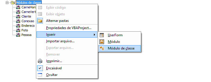 Para que serve o módulo de classe do vba excel